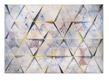 HORTENSIAS, Encáustica sobre madera. Políptico de 44 piezas, 57 x 110 cm
