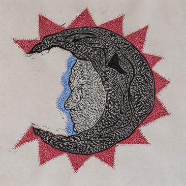 Luna (I), Xilografía y acrílico sobre papel amate, 60 x 60 cm, 2017, Tiraje P/A +5