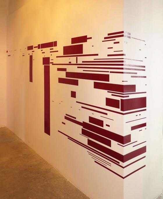 860 – 2010, Vinil autoadhesivo sobre pared e impresión sobre papel, 4.32 x 1.50 mt., 2013.