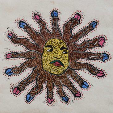 Sol (I), Xilografía y acrílico sobre papel amate, 60 x 60 cm, 2017, Tiraje P/A +5