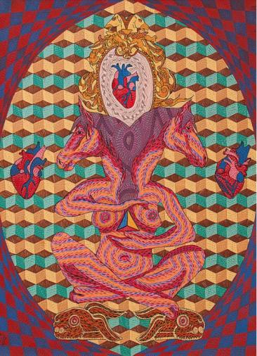 Matriarca mística de la fertilidad mexicana. Acrílico sobre tela 120 x 90 cm