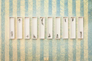 Altar de bestias para la masturbación matutina. Intervención de muro, Collage, tinta china y acrílico sobre papel amate