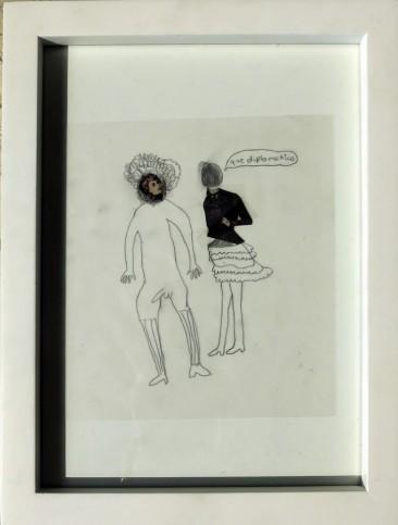 QUE DIPLOMÁTICO, Imagen intervenida con dibujo papel albanene, 25 x 18 cm. 2013
