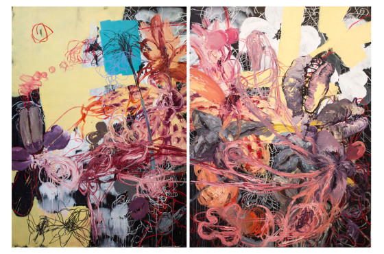 Diptych. Oil and charcoal on canvas 240 x 320 cm