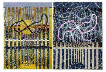 VARIACIONES SOBRE GAJOS, Serigrafía 5 tintas s/papel, díptico 70 x 100 cm.