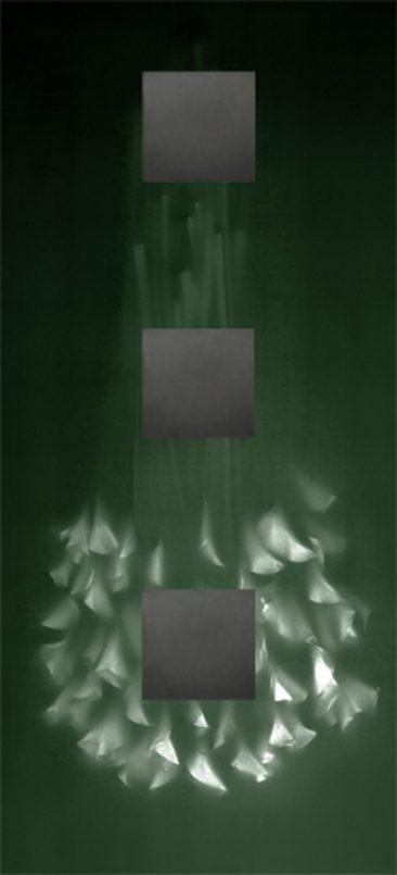 LILY DE CABEZA ,Tinta de archivo en papel de algodón premium con collage de plomo, 220 x 100 cm, Edición 3 , 2018