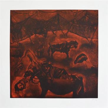 La burra no era arisca, Mezzotinta, 74 X  74 cm, 2015