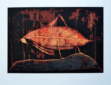 Mantis, Xilografía (3 placas), 104  X 136 cm, 2015