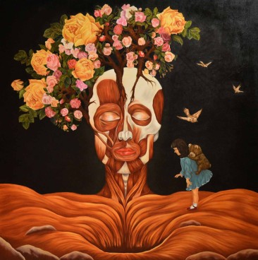 THE PERSUIT OF HAPINNES: Óleo sobre lienzo. 198 x 198 cm. 2015