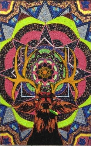 VENADO CALEIDOSCOPIO, Etiquetas textiles y acrílico de color / Fomular, 180 x 120 cm, 2015.