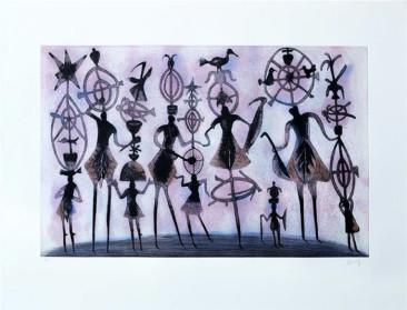 Alfeñiques 2, Grabado en metal, 68  X 100 cm, 2014