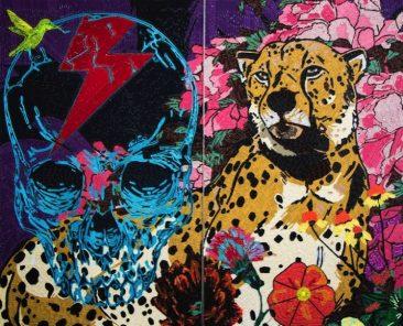 FLASH/LEOPARDO. Etiquetas textiles y acrílico de color/fomular, Díptico 210 x 260 cm, 2016