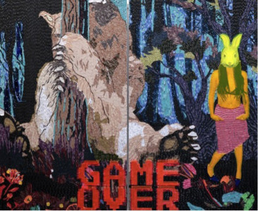 GAME OVER/CONEJA, Cloth stickers and color acrylic / Fomular, 210 x 360 cm, 2016.