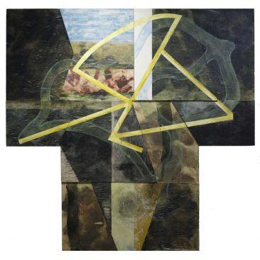 GEOMETRIA ARBOL, Encáustica y tarlatana/MDF, 180 x 180 cm.