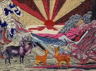 SUNSET, Etiquetas textiles y acrílico de color / Fomular, 145 x 200 cm, 2016.