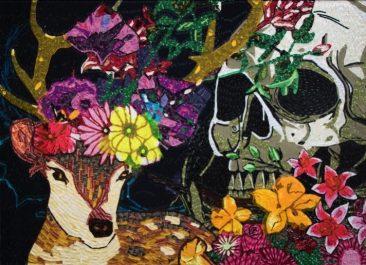 VENADO/CALAVERA II. Etiquetas textiles y acrílico de color/fomular, 130 x 180 cm, 2016