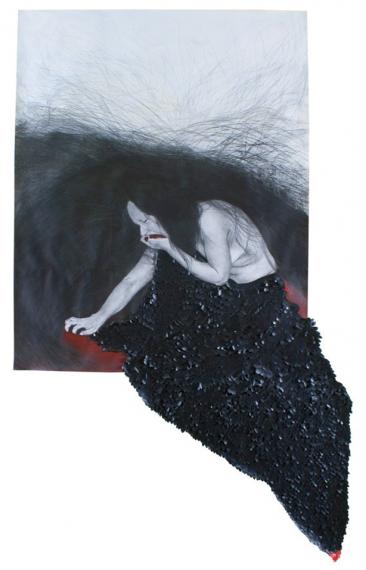 CASA SIN VENTANAS NO. 5,  Serie: Casa sin ventanas, Grafito y acrílico sobre papel, 155 x 85 cm, 2012.