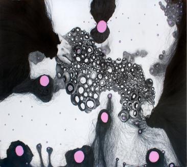 CASA SIN VENTANAS NO. 9, Serie: Casa sin ventanas, Grafito y acrílico sobre papel, 76 x 104 cm, 2012.