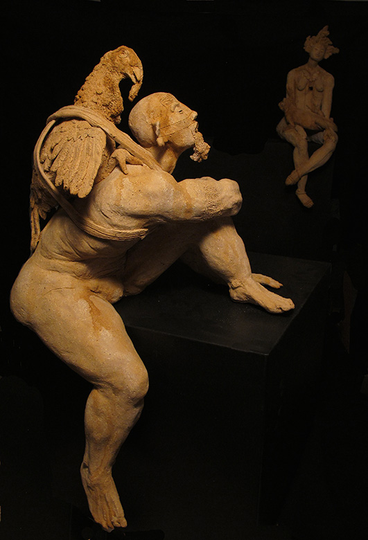 DELIRIO. Escultura en cerámica con óxidos, 69 x 31 x 43 cm.