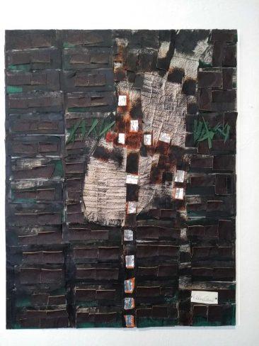 TUNDRA IV,  Collage piel y papel,  84 x 69 cm