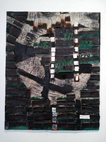 TUNDRA I,  Collage piel y papel,  84 x 69 cm