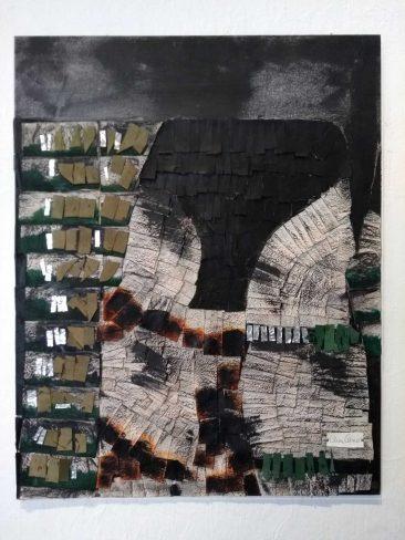 TUNDRA II,  Collage piel y papel,  84 x 69 cm