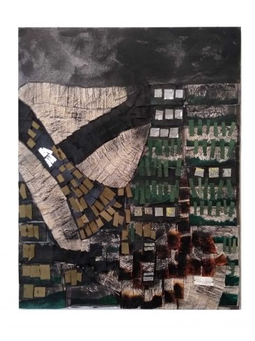 TUNDRA III,  Collage piel y papel,  84 x 69 cm