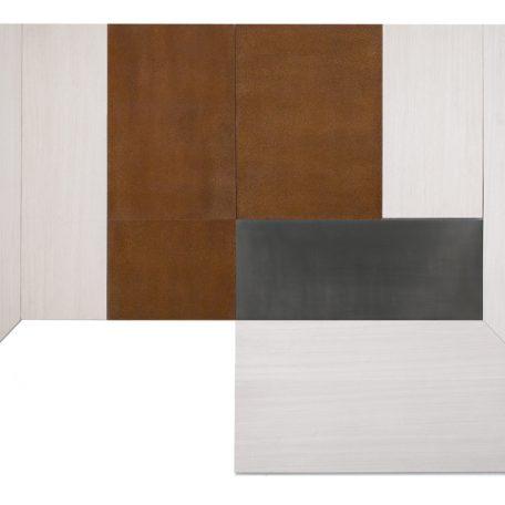 Cuarto Blanco Óxido, Madera Egipcia Laminada, Plomo y Acero / Aluminio 165 x 280 cm, 2018, Edición 173