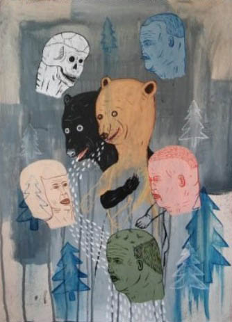MysteriesCare Bears, Acrylic on paper, 24 x 18 inches