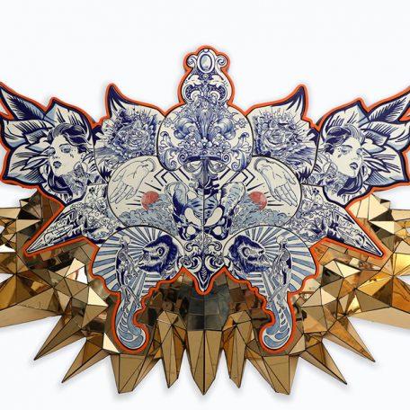 ORIGEN Y FIN Talavera, wood structure, acrylic golden mirror, 138 x 260 x 18 cm 2019